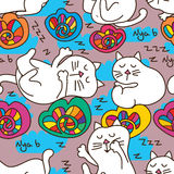 Cat sleep dream seamless pattern Royalty Free Stock Images