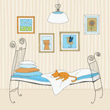 Cat Sleeping on Bed Royalty Free Stock Photo