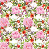 Cat sleeping in grass and flowers. Floral seamless pattern. Watercolor Royalty Free Stock Photography