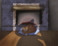 Cat sleeping near the fire place. A cat is sleeping near the fire place. Theres the shadow of someone who had open the door. Digital illustration of the Grimms Royalty Free Stock Photography