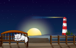 A cat sleeping in the seaport. Illustration of a cat sleeping in the seaport Royalty Free Stock Image