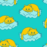 Cat sleeps on cloud pattern. Soft fluffy pet and cloud seamless Stock Photography