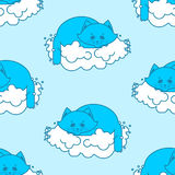 Cat sleeps on cloud pattern. Soft fluffy pet and cloud seamless Stock Photo