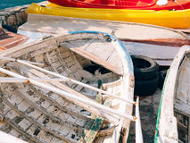 The cat sleeps in an old destroyed wooden boat in Perast, Monten Stock Images