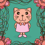 Cat small ribbon frame seamless pattern Royalty Free Stock Images