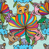 Cat smell flower abstract seamless pattern Royalty Free Stock Image