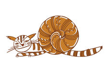 Cat-snail. lovely illustration Royalty Free Stock Photo