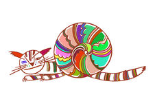 Cat-snail. lovely illustration Stock Images