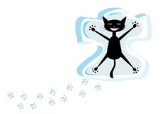 Cat on snow. Cartoon black cat on snow Royalty Free Stock Photography