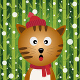Cat and snow on bamboo background Stock Photo