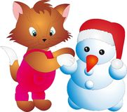 Cat and snowman  Royalty Free Stock Photography