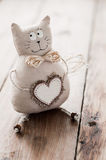 Cat soft fabric handmade heart to insert text Stock Image
