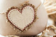 Cat soft fabric handmade heart to insert text. Macro Royalty Free Stock Images