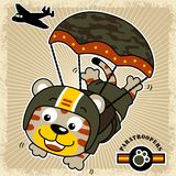 Cat soldier cartoon the funny paratrooper royalty free illustration