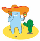 Cat in the sombrero. The cat with the maracas Royalty Free Stock Photos
