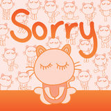 Cat sorry card. Illustration abstract naughty cat sorry orange card graphic element object Royalty Free Stock Photography