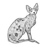 Cat Sphynx klotter vektor illustrationer