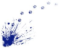 Cat spill. Editable vector illustration of an ink spill and cat pawprints Stock Image
