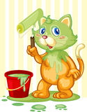 Cat spilling paint Stock Images