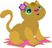 Cat with Spiral Flower Royalty Free Stock Photos