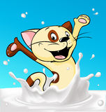 Cat splash around  milk - vector Stock Photo