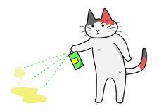 Cat spraying deodorant Stock Photo