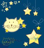 Cat and stars. Vector file royalty free illustration