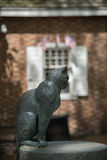Cat statue at betsy ross house. Sculpted cat statue at the betsy ross house Royalty Free Stock Photos