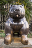 Cat statue of Botero in Medellin. October 19,2016 Medellin,Colombia: surrealist statue of a dog donated by Botero to his birth city displayed publicly in the Stock Photos