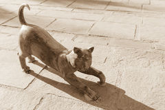 Cat statue. Cat figure on embankment of famous Marsaxlokk village, Malta Royalty Free Stock Photography