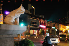 Cat Statue in Kuching Streets in night Royalty Free Stock Images