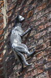 Cat Statue in York. One of the decorative cat statues that are placed on numerous buildings in York, England royalty free stock image