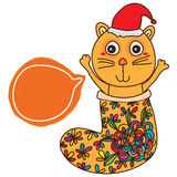 Cat stocking Christmas hat card Stock Image