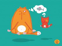 Red cat and kitten doing meditation and yoga, levitation and thinking about fish. Cat stories. Set of vector illustrations about funny cats. Illustration in Royalty Free Stock Photos