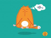 Red cat is engaged in meditation and yoga, levitation and thoughts about fish. Cat stories. Set of vector illustrations about funny cats. Illustration in pastel Stock Photos