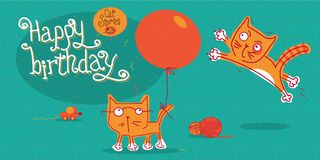 Two red-haired kitten playing with a balloon, birthday card. Cat stories. Set of vector illustrations about funny cats. Illustration in pastel colors. Life of Royalty Free Stock Photo