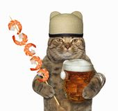 Cat with beer and shrimp skewer royalty free stock photography