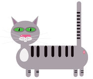 Cat striped gray cartoon Royalty Free Stock Image