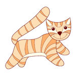 Cat. Striped red cat contour drawing vector illustration Royalty Free Stock Photo