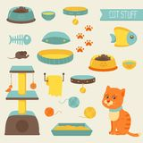 Cat stuff collection, cat toys, cat food Royalty Free Stock Photos