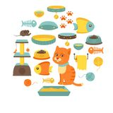 Cat stuff collection, cat toys, cat food Stock Image