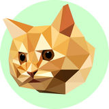 Cat in the style of the polygon. Fashion illustration of the tre. Nd in style on a green background. Farm animals. Portrait of red-haired kitten Royalty Free Stock Photography