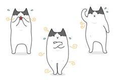 Cat suffering with body odor. Funny cartoon cat suffering with body odor set Royalty Free Stock Photo