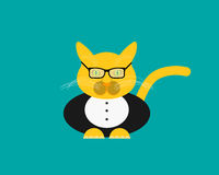 Cat in a suit. Flat icon Royalty Free Stock Photography