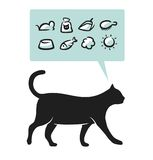 Cat supplies. Cat drawing and supplies icons set Stock Photography