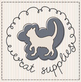 Cat supplies label. Cat supplies calligraphic handwritten label Royalty Free Stock Photography