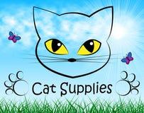 Cat Supplies Means Pedigree Cats och gods royaltyfri illustrationer