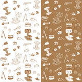 Cat supplies seamless pattern. White brown Royalty Free Stock Photos