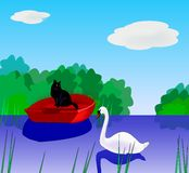 Cat and Swan. Royalty Free Stock Photo