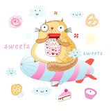 Cat is a sweet tooth Stock Images